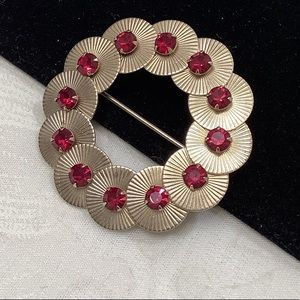 Vintage Gold Circles With Red Rhinestones Brooch